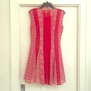 BCBG Max Azria Red & White Lace Jalena Dress